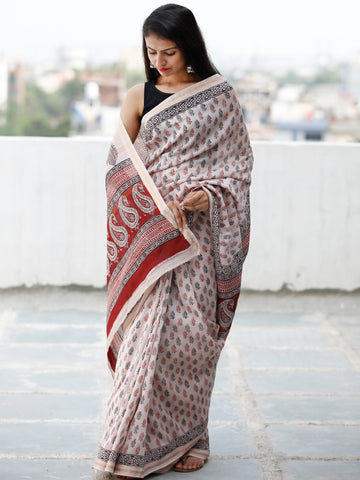 Beige Maroon Black Bagh Hand Block Printed Maheswari Silk Saree With Resham Border - S031703839