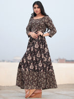 Tareen - Black Beige Brown Hand Block Printed Cotton Long Dress D150F2131