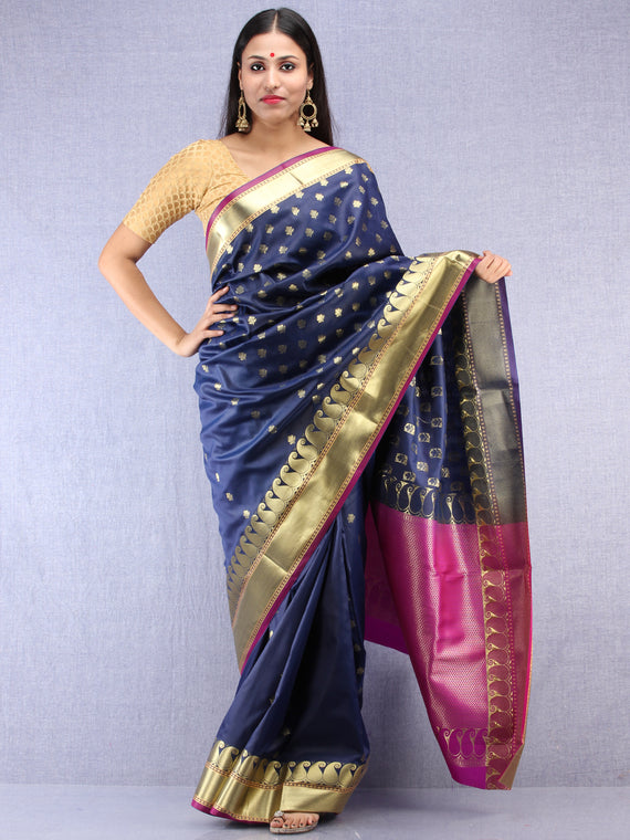 Banarasee Art Silk Saree With Zari Work  - Navy Blue Magenta & Gold - S031704416