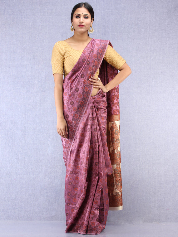 Banarasee Art Silk Saree With Rehsam Weaving Work - Onion Pink & Ivory - S031704392