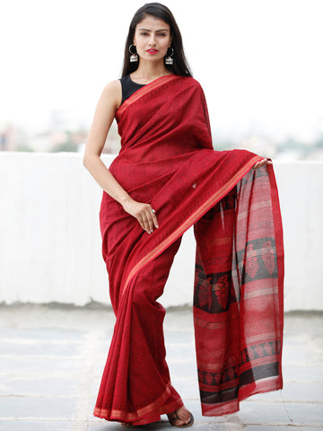 Red Maroon Black Bagh Hand Block Printed Maheswari Silk Saree With Resham Border - S031703840