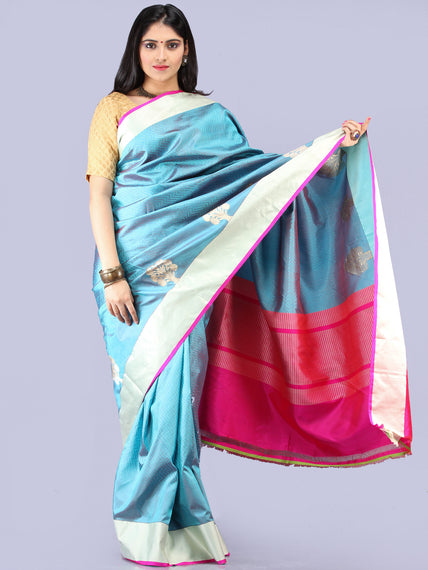 Steel Blue Silver Magenta Banarasi Silk Saree With Zari Work - S031704305