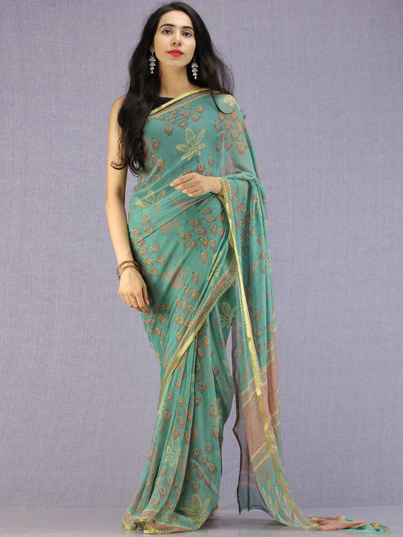 Turquoise Coral Yellow Hand Block Printed Chiffon Saree with Zari Border - S031704599