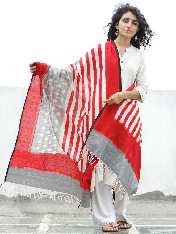 Red  White Grey Double Ikat Handwoven Pochampally Cotton Dupatta -  D04170313