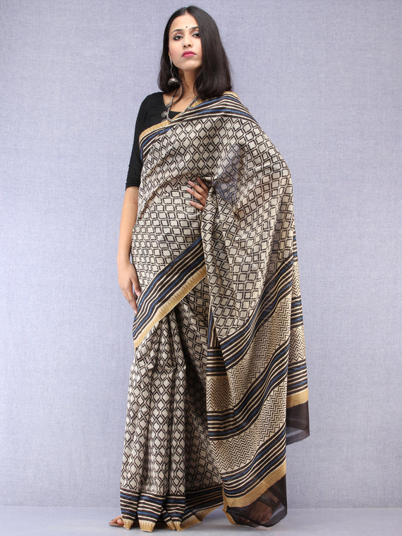 Ivory Black Indigo Hand Block Printed Chanderi Saree With Geecha Border - S031704523