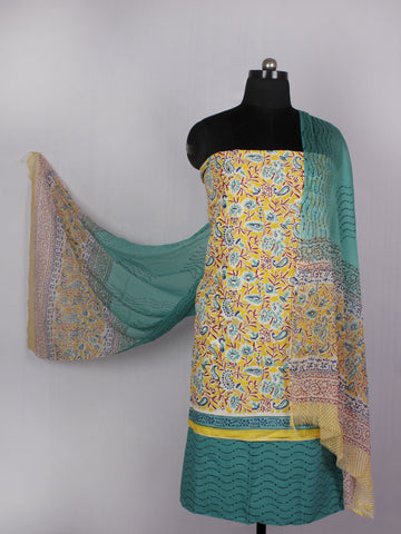 Yellow Teal Blue Maroon Hand Block Printed Cotton Suit-Salwar Fabric With Chiffon Dupatta - S16281229