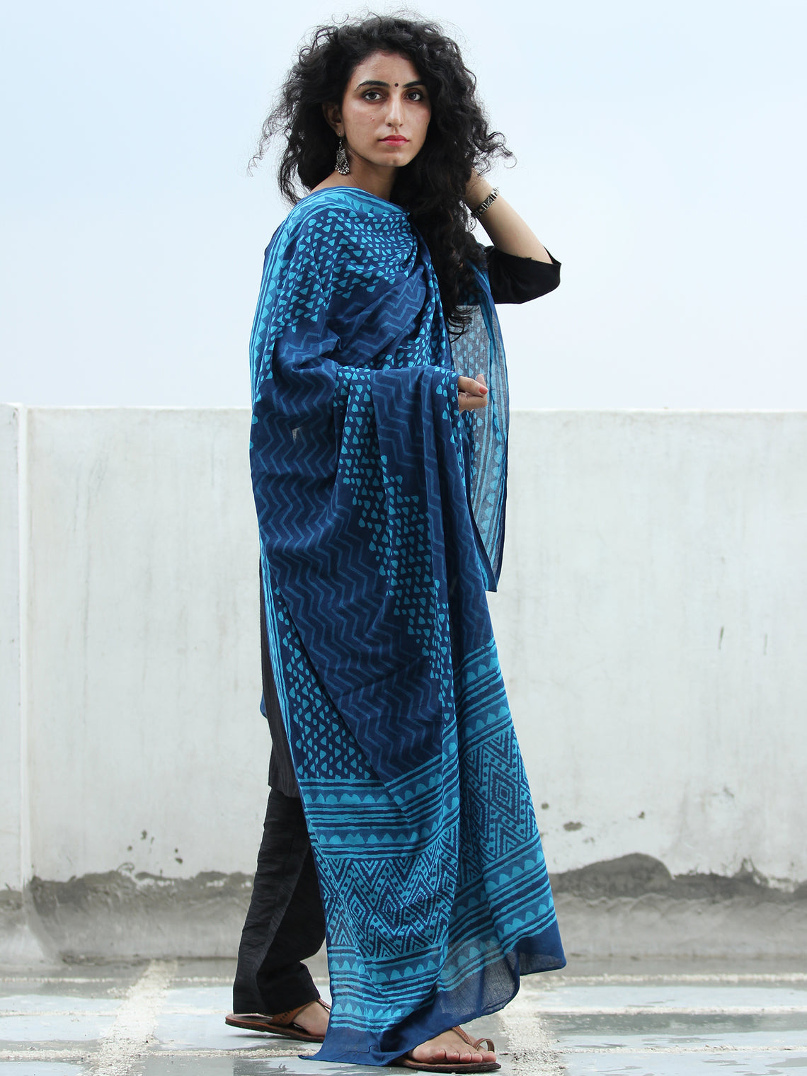 Indigo Sky Blue Cotton Hand Block Printed Dupatta   - D04170411
