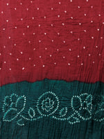 Teal Green Maroon White Hand Tie & Dye Bandhej Suit Salwar Dupatta (Set of 3) With Hand Embroidery & Mirror Work - S16281255