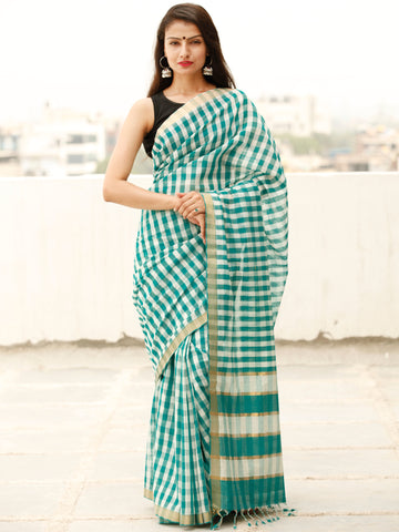 Teal Green White Handloom Mangalagiri Cotton Saree With Zari Border - S031703865