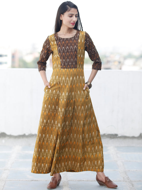 Everyday Elegance - Handwoven Ikat Cotton Dress - D322F960