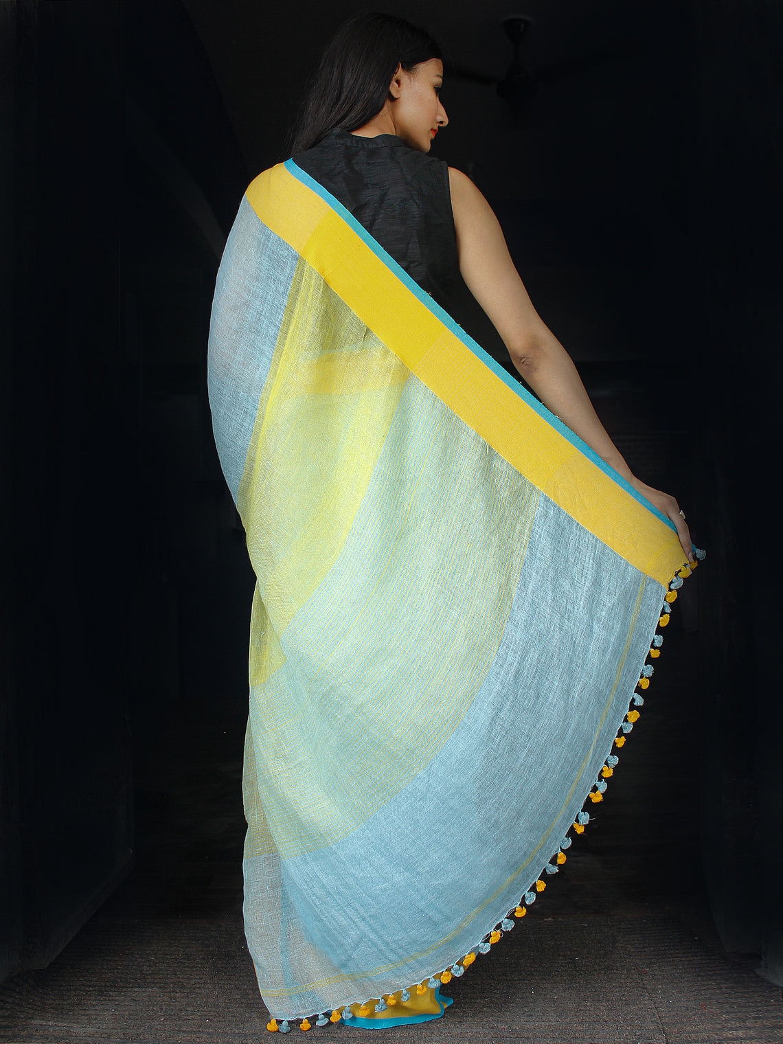 Pastel Blue Yellow Handwoven Linen Saree With Yellow Border - S031703456