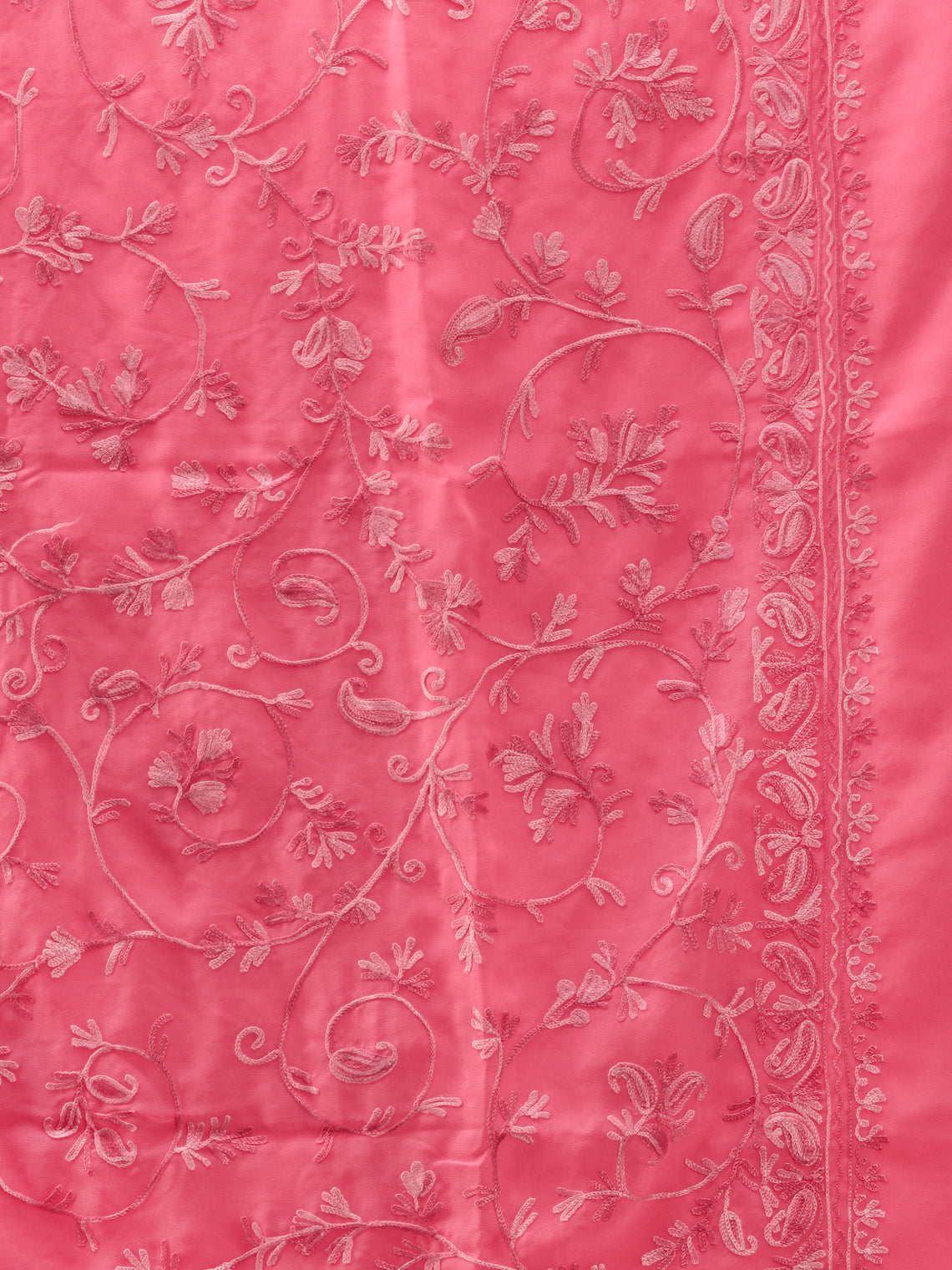 Pink Aari Embroidered Georgette Saree From Kashmir - S031704639