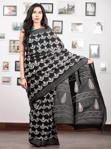 Black White Grey Hand Block Printed Cotton Mul Saree   - S031703031