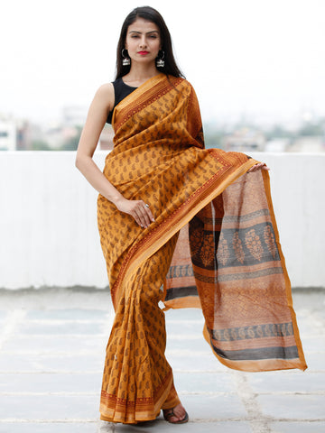 Rust Orange Maroon Black Bagh Hand Block Printed Maheswari SilkSaree With Resham Border - S031703841