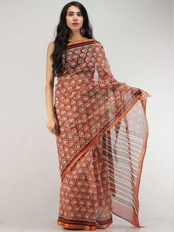 Rust Beige Black Hand Block Printed Kota Doria Saree With Zari Border - S031704569