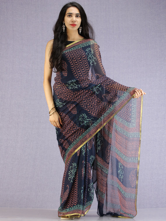 Navy Pink Teal Hand Block Printed Chiffon Saree with Zari Border - S031704600