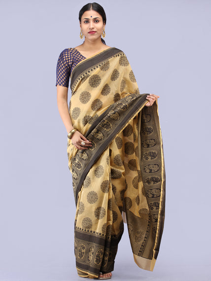 Beige Black Banarasi Cotton Saree - S031704304
