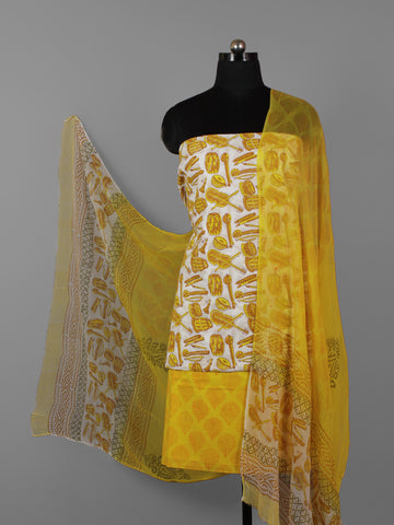 Ivory Yellow Hand Block Printed Cotton Suit-Salwar Fabric With Chiffon Dupatta (Set of 3) - S16281294