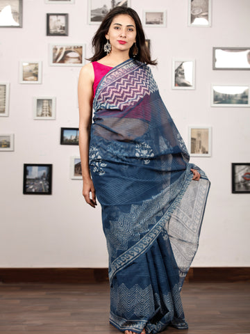Indigo White Hand Block Printed Kota Doria Saree In Natural Colors - S031703208
