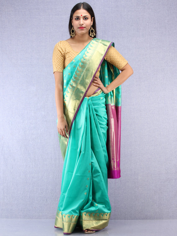 Banarasee Art Silk Saree With Zari Work - Sea Green Purple & Gold - S031704417