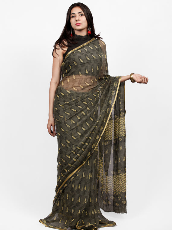 Charcoal Grey Yellow Hand Block Printed Chiffon Saree with Zari Border - S031703249