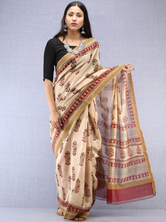 Ivory Maroon Hand Block Printed Chanderi Saree With Geecha Border - S031704496