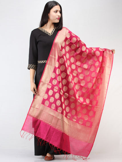 Banarasi Semi Georgette Dupatta With Zari Work -  Hot Pink & Gold  - D04170915