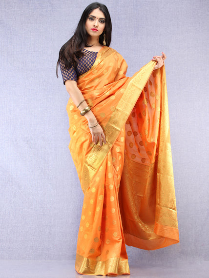 Yellow Golden Banarasi Weave Silk Saree - S031704394