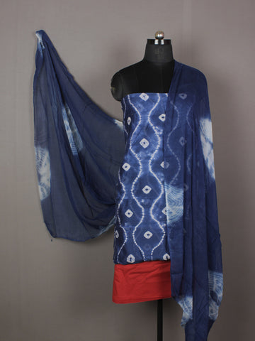 Indigo Ivory Maroon Hand Shibori Dyed Chanderi Kurta & Chiffon Dupatta With Cotton Salwar Fabric Set of 3- S1628205