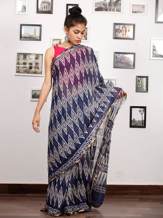 Indigo White Hand Block Printed Chiffon Saree with Zari Border - S031703167