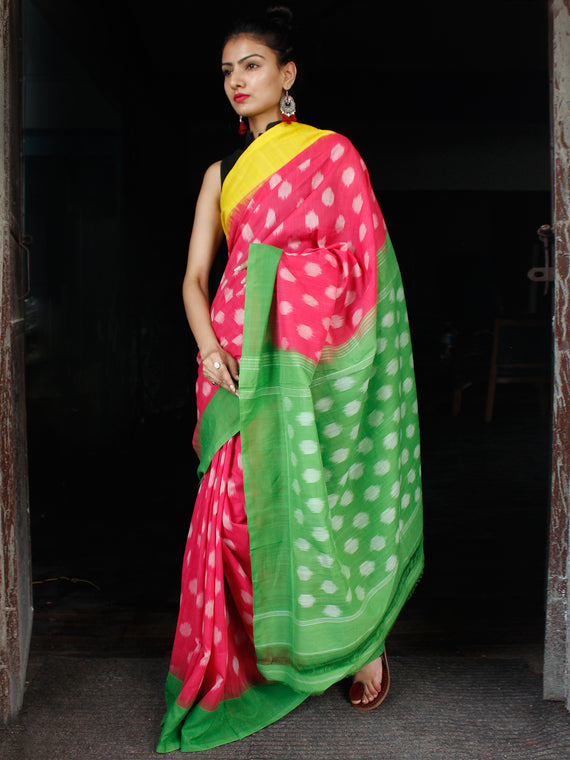 Pink Yellow Green Ikat Handwoven Ganga Jamuna Border Pochampally Cotton Saree - S031703626
