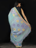 Paled Turquoise Handwoven  Linen Jamdani Saree With Flower Motifs - S031703457