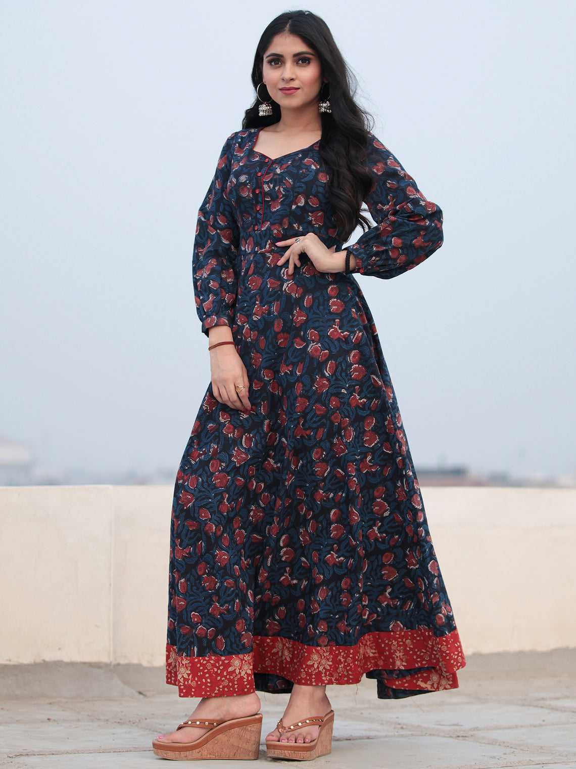 Indigo Rust Hand Block Printed Cotton Long Dress D465F1138