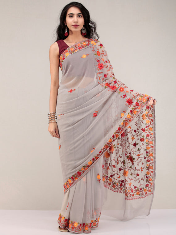 Grey Aari Embroidered Georgette Saree From Kashmir  - S031704623