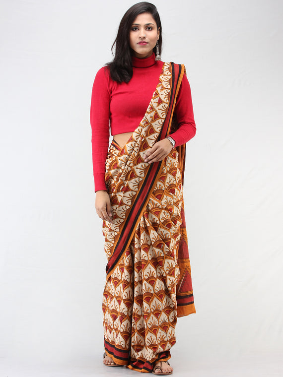 Beige Mustard Red Hand Block Printed Cotton Mul Saree - S031704456