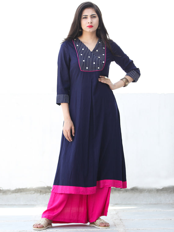 Indigo Pink Rayon Kurta And Palazzo With Embroidery Details - Set of 2 - SS01F026