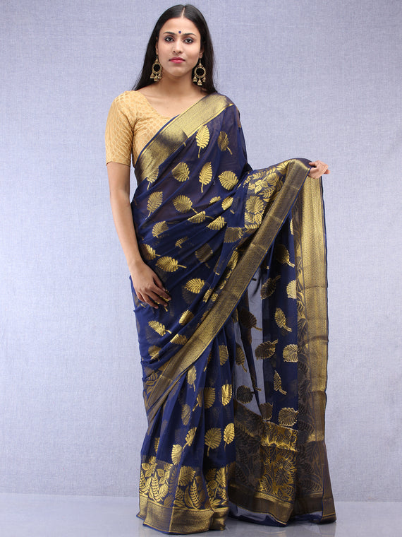 Banarasee Chiffon Saree With Golden Zari Weave - Blue & Gold - S031704400