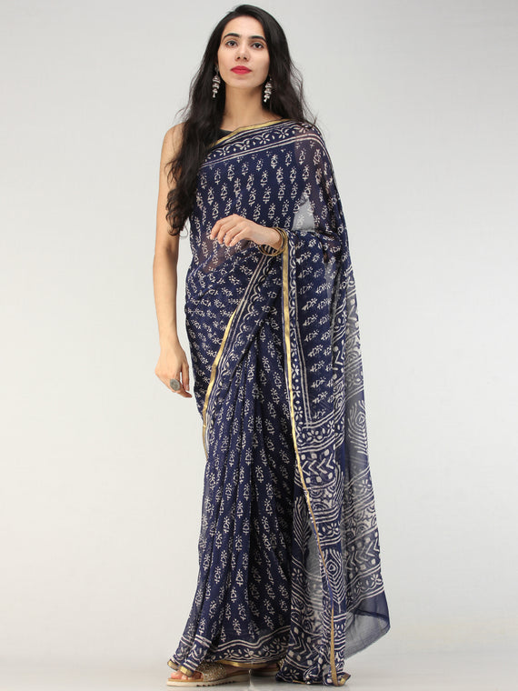 Navy OffWhite Hand Block Printed Chiffon Saree with Zari Border - S031704553