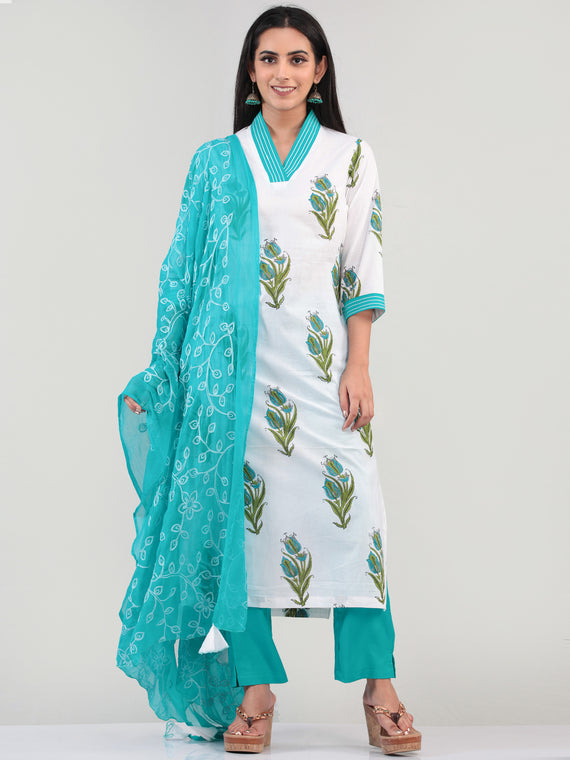 Bahaar Jahan - Set of Kurta Pants & Dupatta - KS08C619D