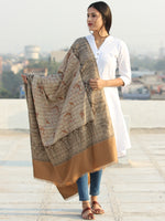 Beige Brown Jamawar Needle Embroidered Woollen Kashmiri Shawl - S200548