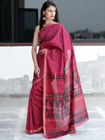 Pink Black Bagh Hand Block Printed Maheswari Silk Saree With Resham Border - S031703826