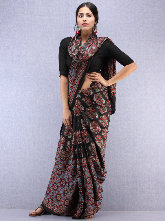 Red Black Indigo Ajrakh Hand Block Printed Modal Silk Saree - S031704444
