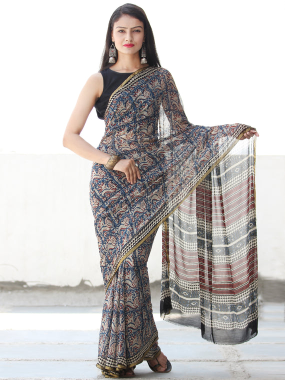 Beige Red Blue Hand Block Printed Chiffon Saree with Zari Border - S031703911