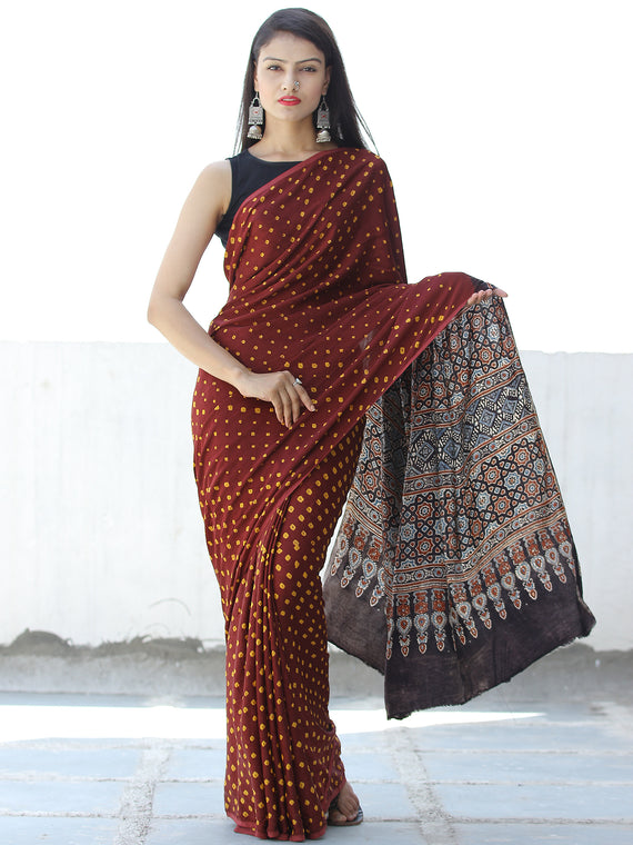 Maroon Yellow Black Bandhej Modal Silk Saree With Ajrakh Printed Pallu & Blouse - S031703871