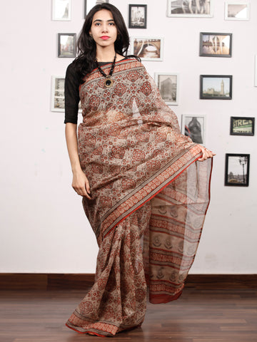 Beige Maroon Black Grey Hand Block Printed Kota Doria Saree In Natural Colors - S031703476