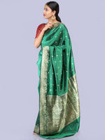 Banarasee Pure Katan Silk Handloom Saree With Zari Work - Green & Gold - S031704288