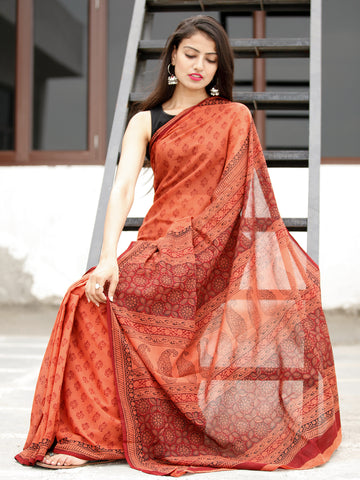 Coral Maroon Black Bagh Hand Block Printed Cotton Saree - S031703817