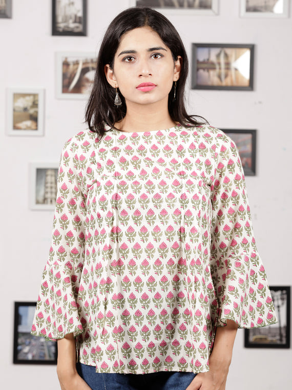 White Green Pink Hand Block Printed Cotton Top With Pleat Details - T23F1057