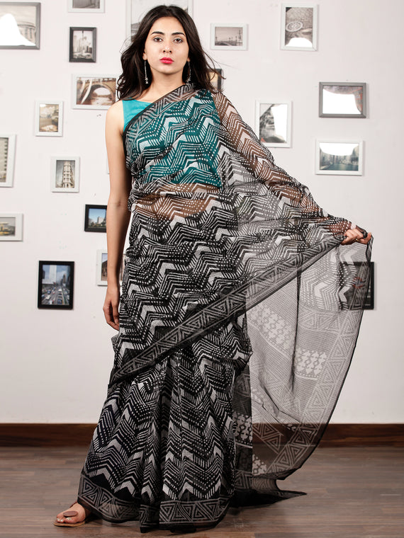 Black White Hand Block Printed Kota Doria Saree In Natural Colors - S031703191