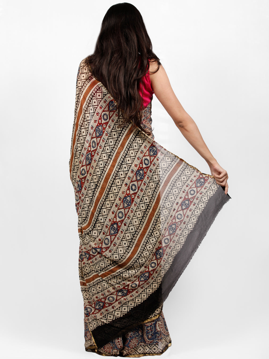 Ivory Indigo Black Maroon Hand Block Printed Chiffon Saree with Zari Border - S031703232